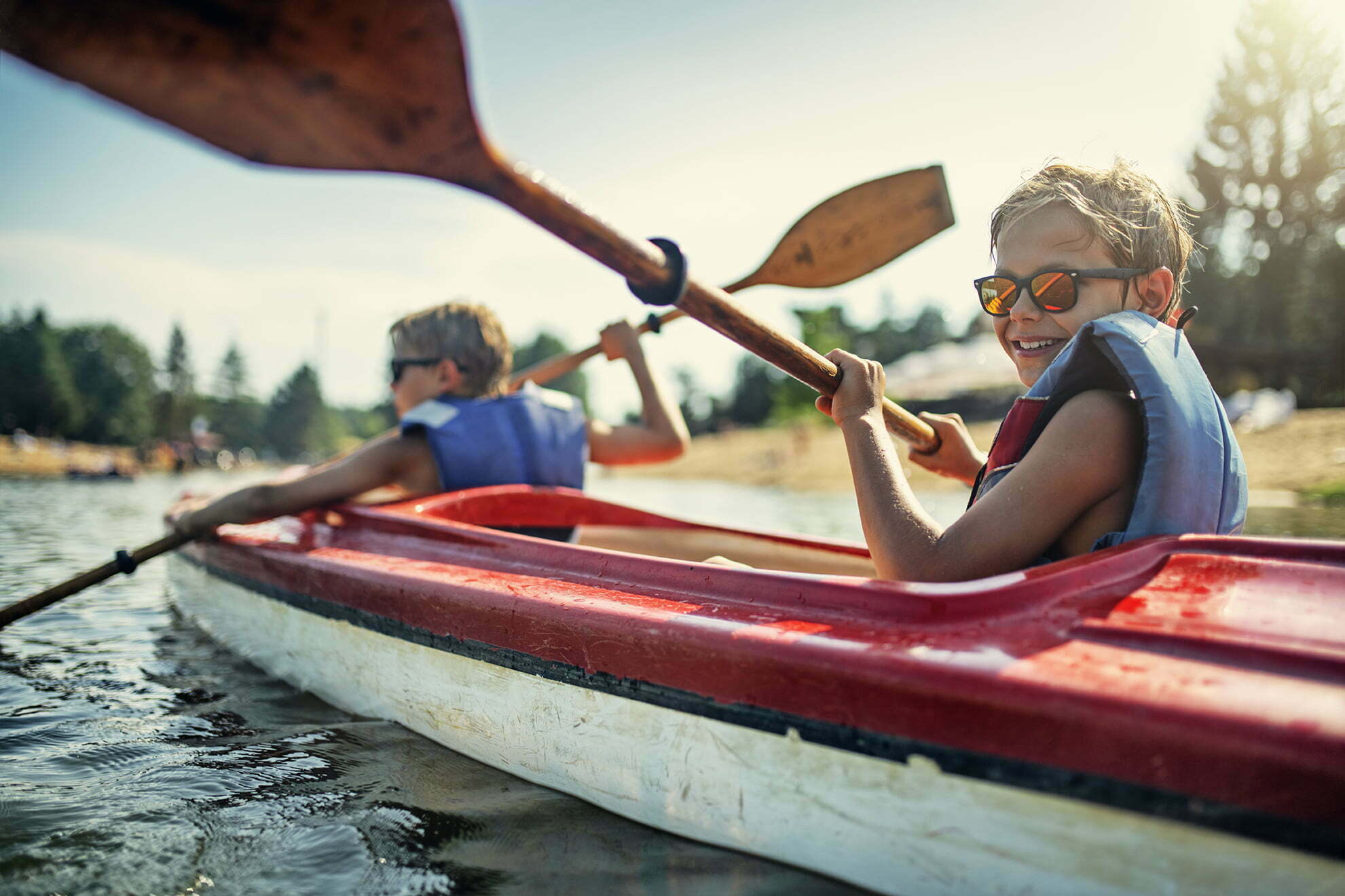 two boys in a kayak